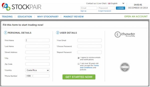 Stockpair formulario para abrir una cuenta